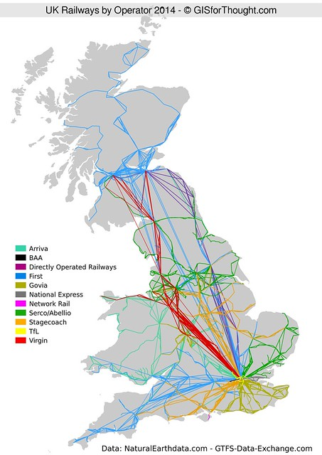 UK Railway Network by Operator