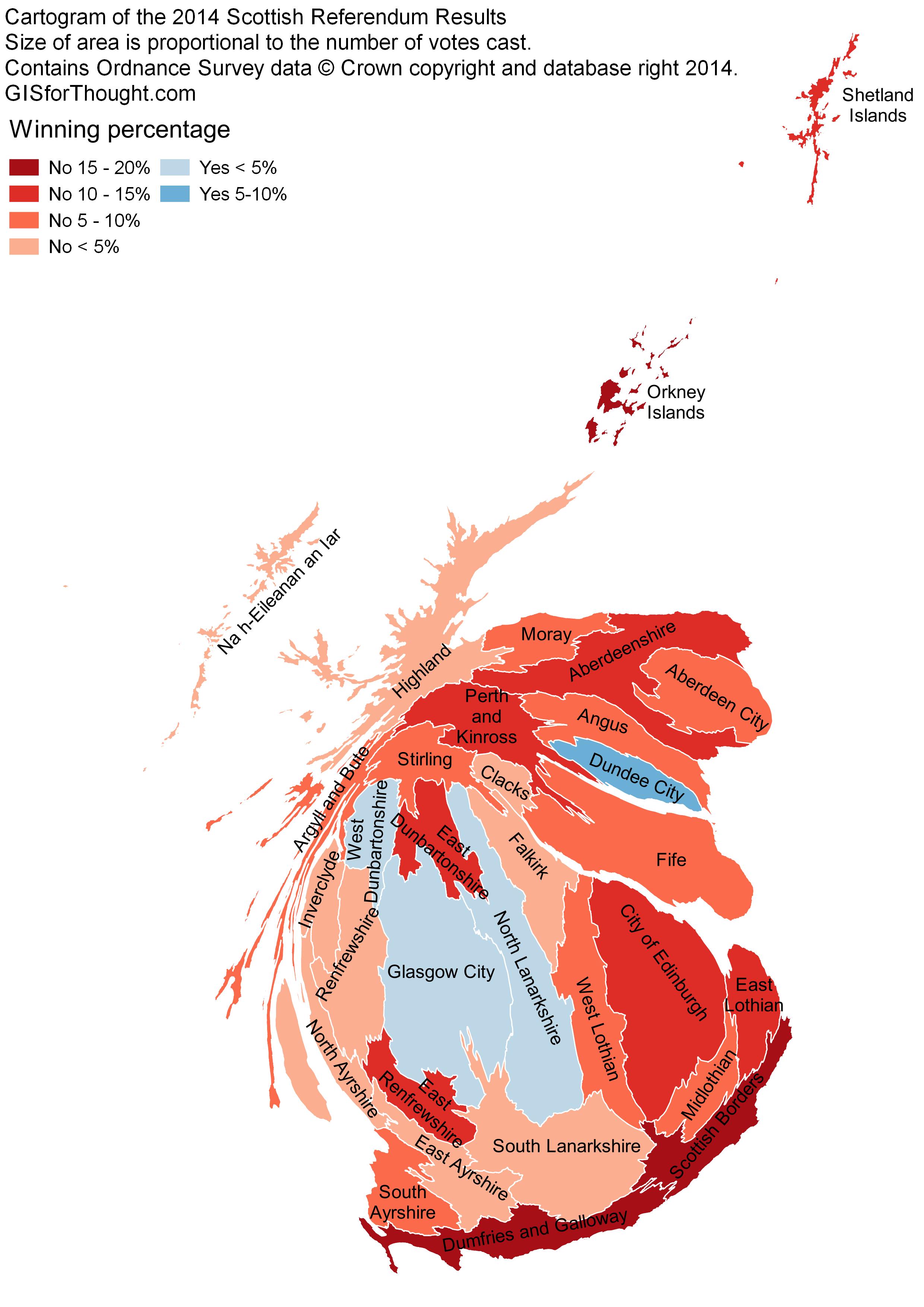 Scottish Independence Referendum 2014 - Cartogram