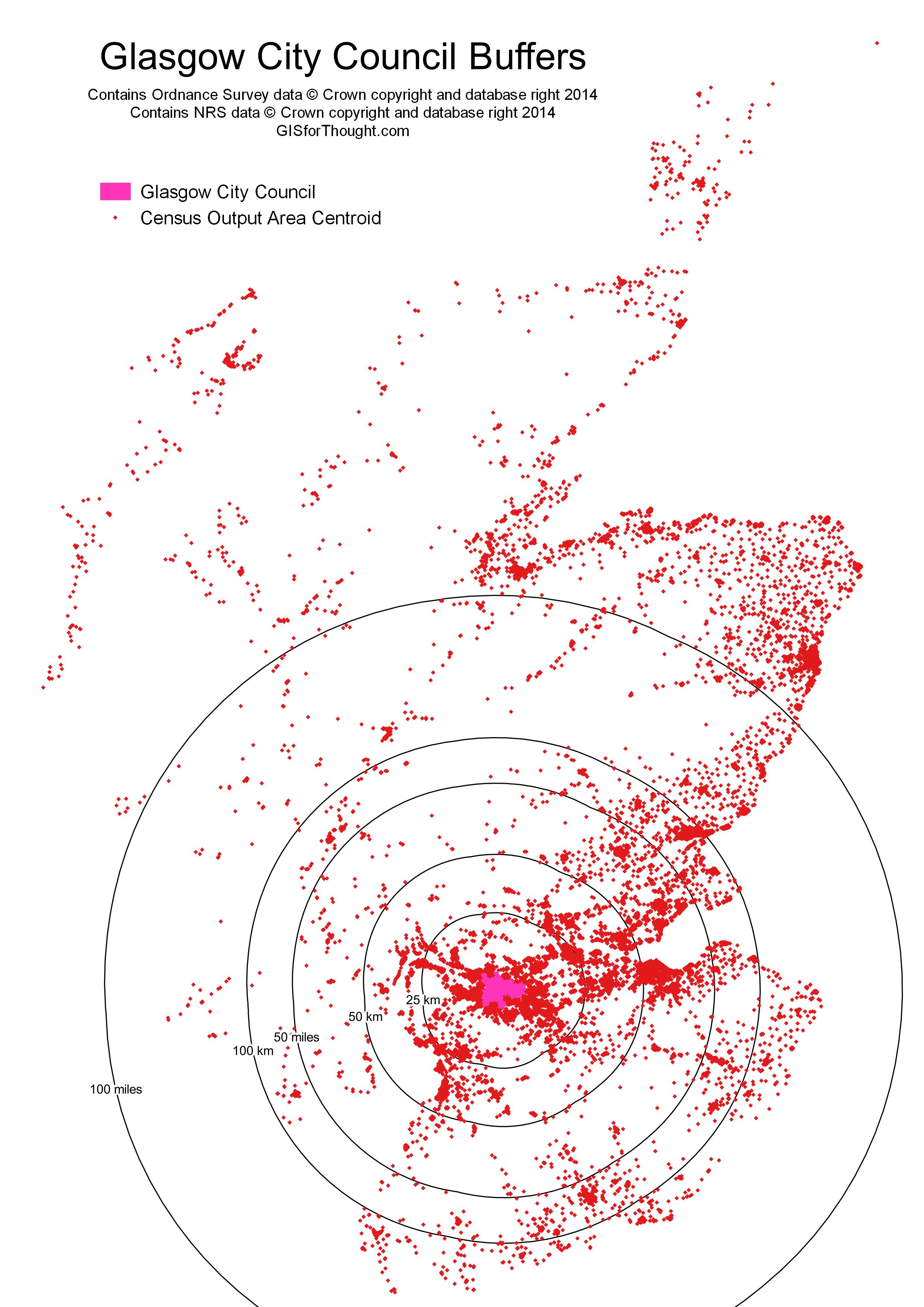 Population buffers around Glasgow