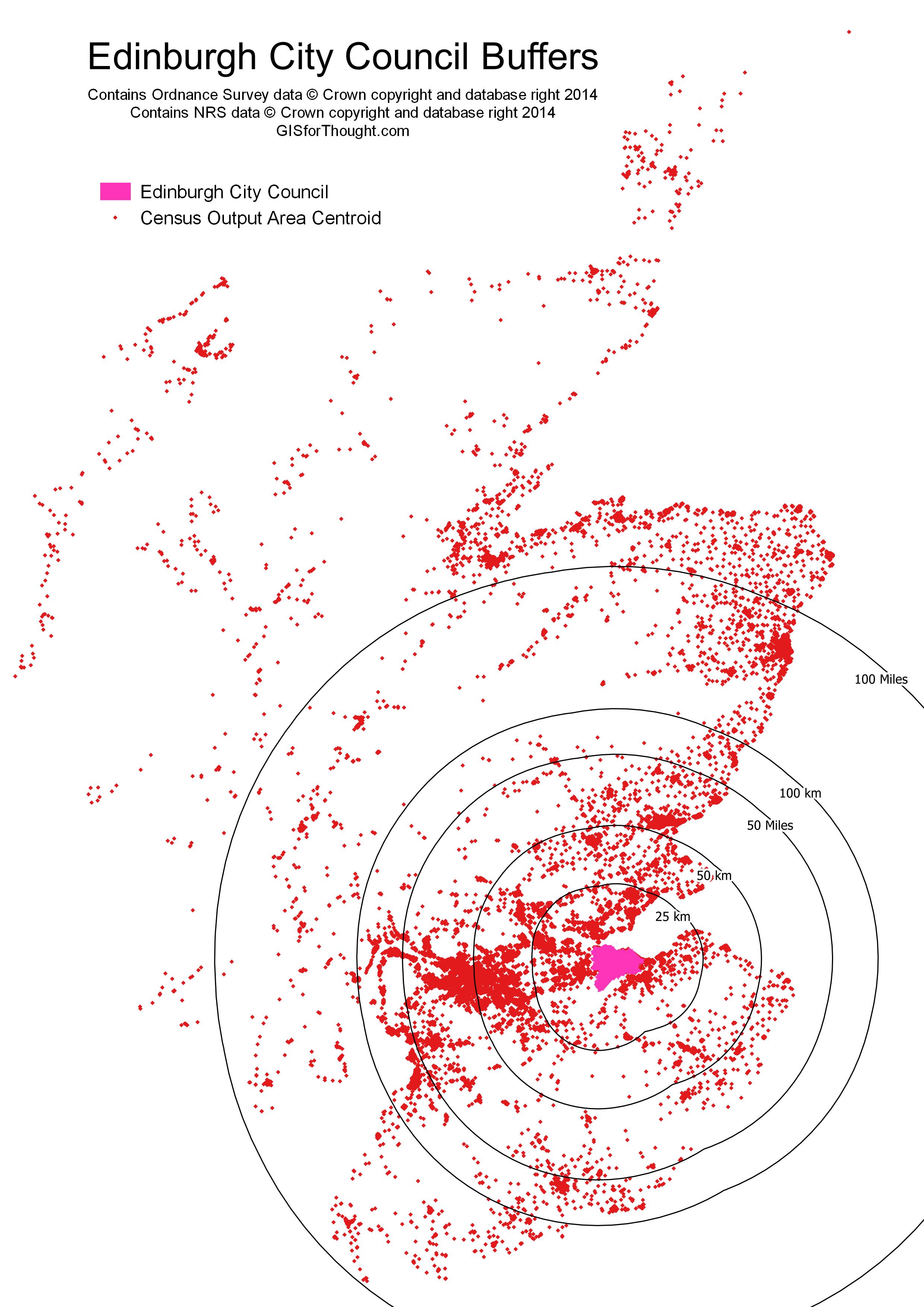 Population buffers around Edinburgh
