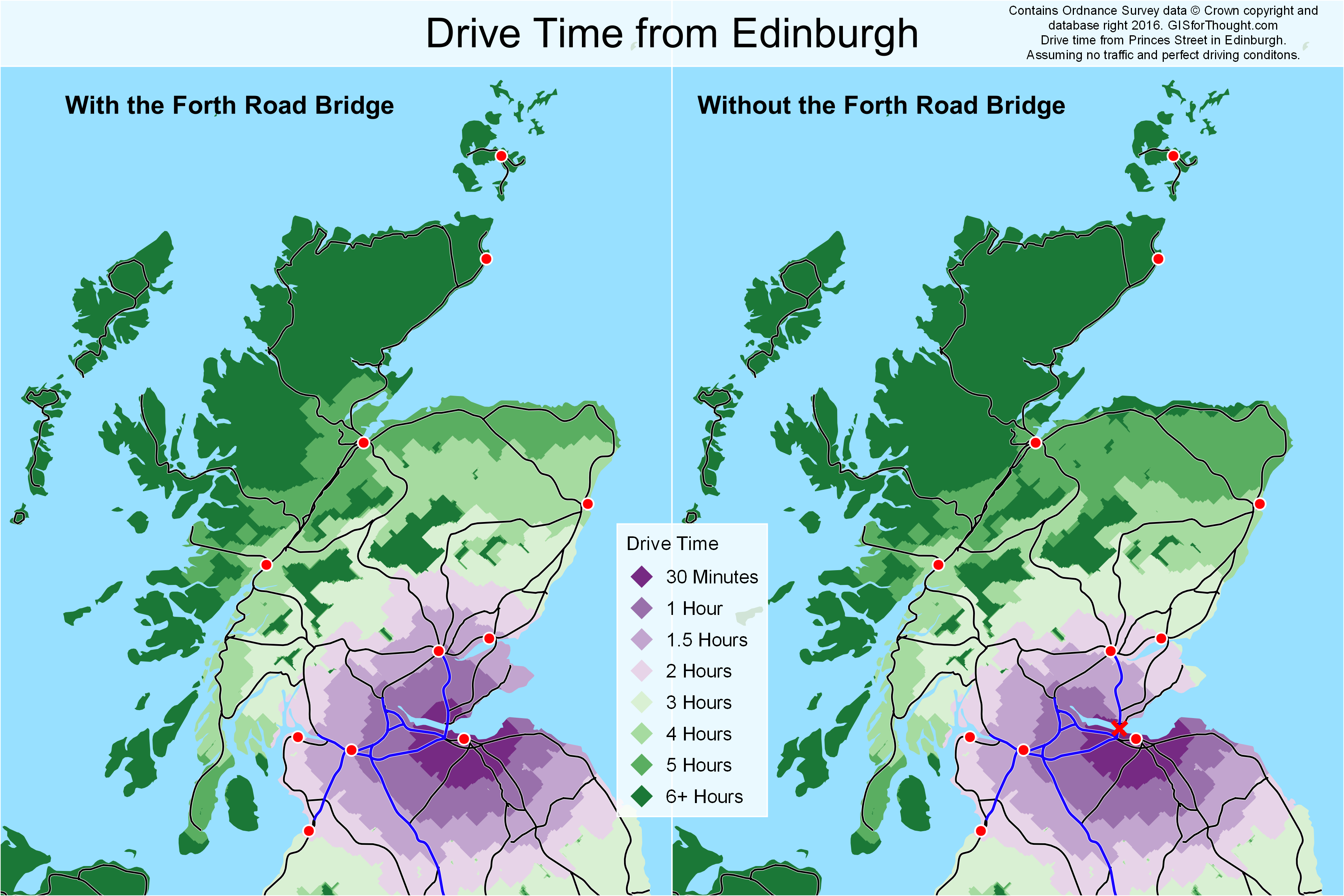 Drive time with and without the forth road bridge